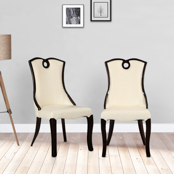 Morwin Solid Wood Dining Chair Set of Two in Beige Colour by HomeTown