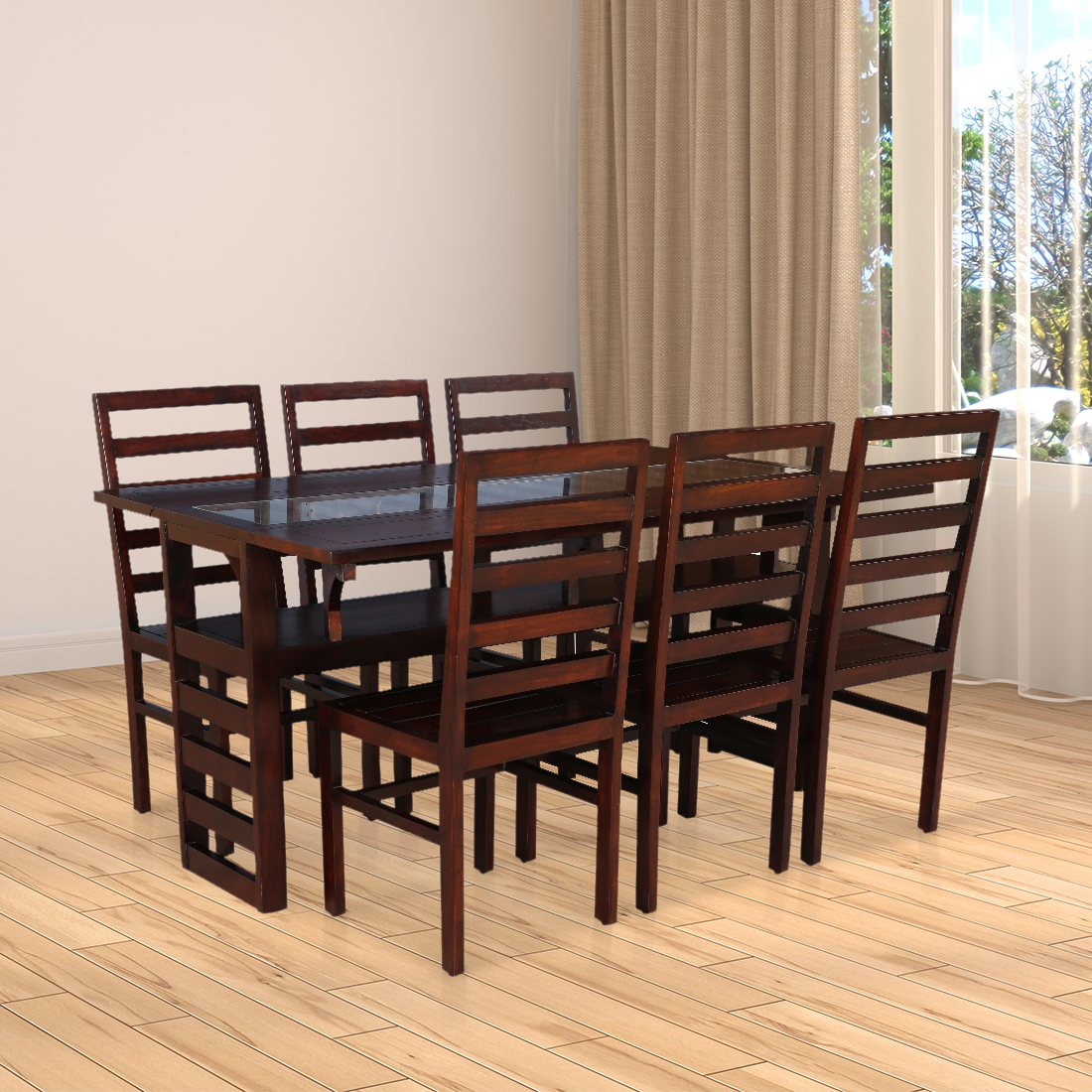 Durham Solid Wood Glass Top Six Seater Dining Set in Walnut Colour by HomeTown
