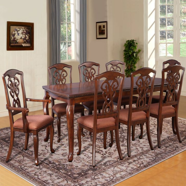 Astoria Solid Wood Eight Seater Dining Set in Dark Brown Color by HomeTown