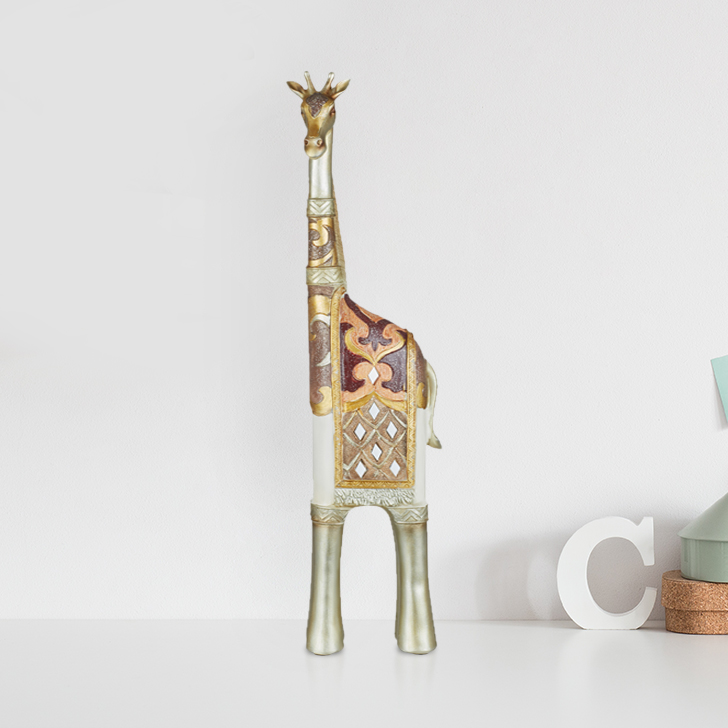Miraya Giraffe Small Polyresin Table Decor in Assorted Colour by Living Essence