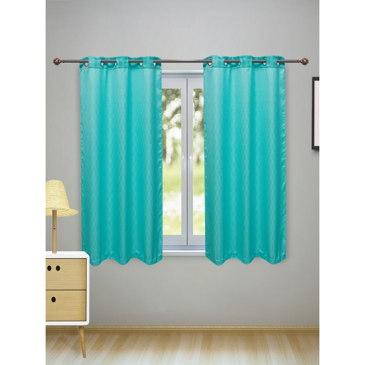 Fiesta Set of 2 Polyester Window Curtains in Turquoise Colour by Living Essence