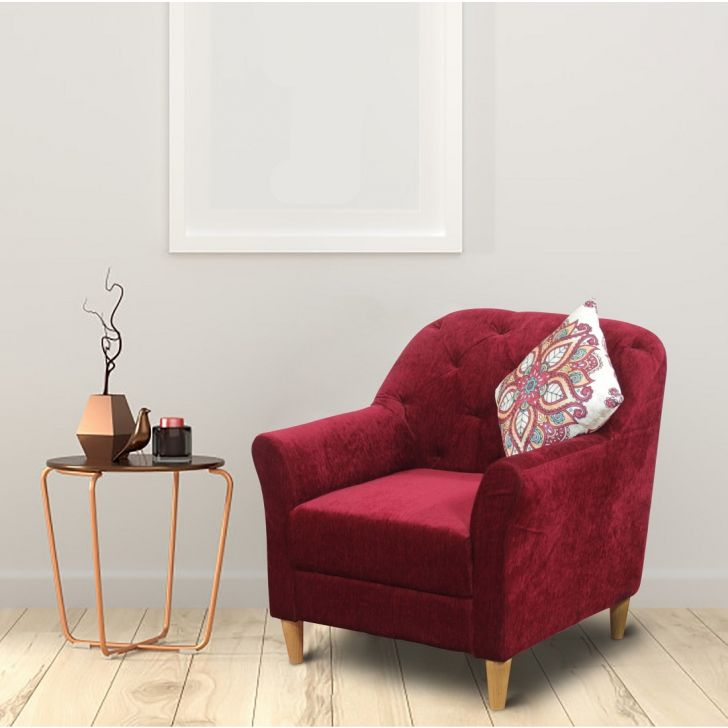 Barter Solid Wood Single Seater Sofa in Maroon Colour by HomeTown