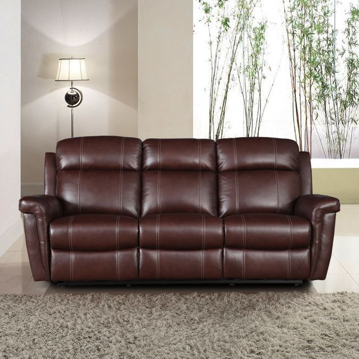 Gatwick New Half Leather Three Seater Recliner in Dark Brown Colour by HomeTown