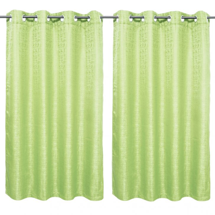 Nora Solid set of 2 Polyester Window Curtains in Citron Colour by Living Essence