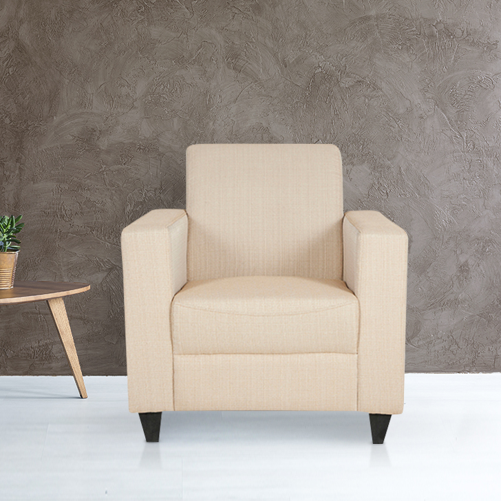 Ciaz Fabric Single Seater Sofa in Beige Colour by HomeTown