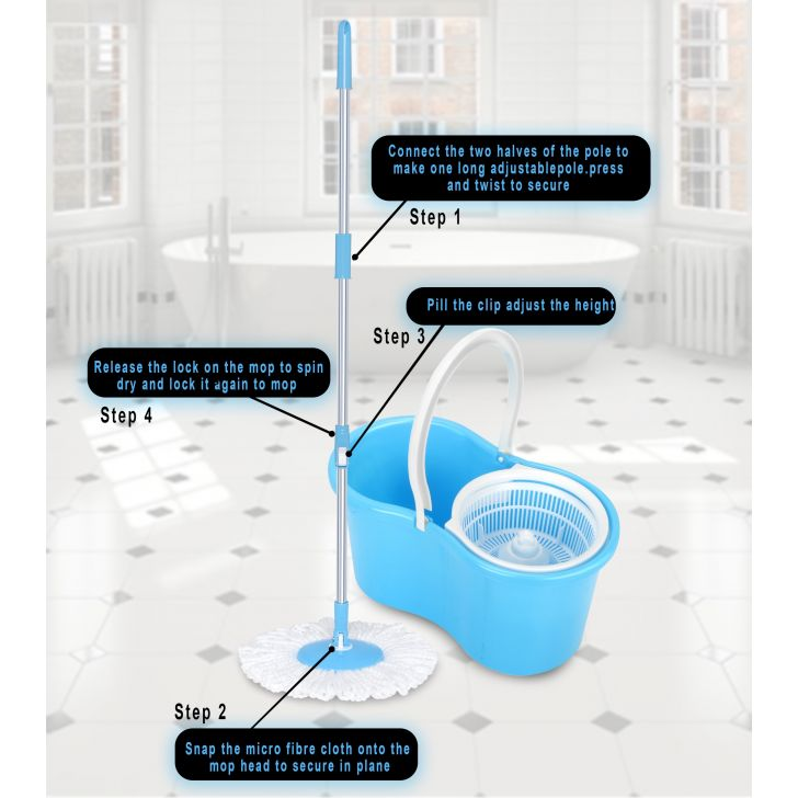Compact Mop Bucket with Extra Mop Refill Plastic in Blue Colour by Dreamline