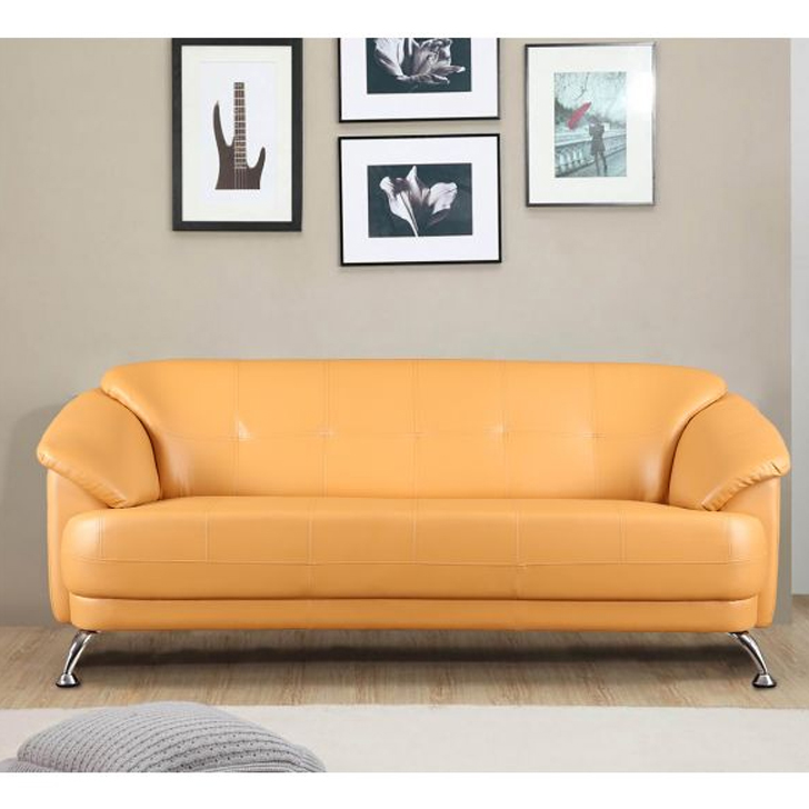 Corinth Fabric & Leatherette Three Seater sofa in Camel Colour by HomeTown