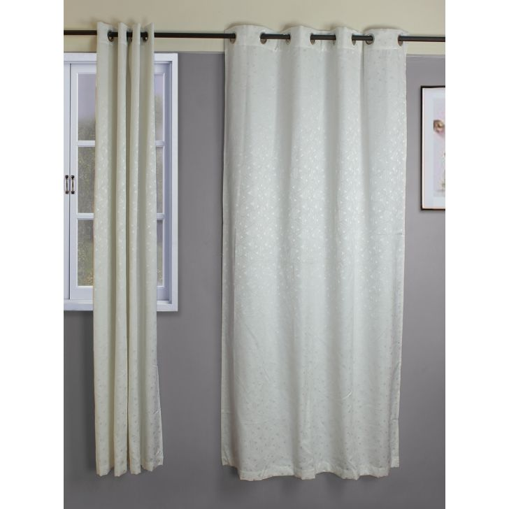 Amour  Set Of 2 Semi Blackout Door Curtain 135X225 CM in Off White Colour by Living Essence