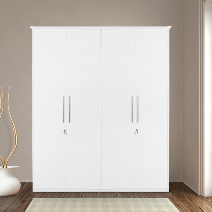 Legend Engineered Wood Four Door Wardrobe in White Colour by HomeTown