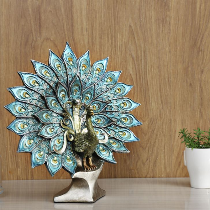 Spread Peacock Polyresin Figurines in Blue Colour by Living Essence