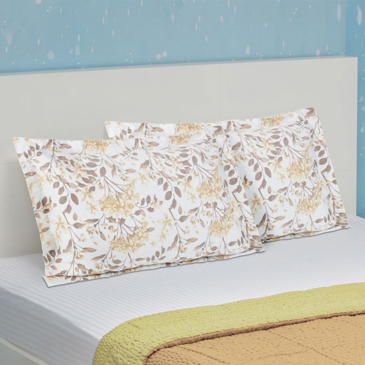 Set of 2 Cotton Pillow Covers in Beige Colour by Living Essence