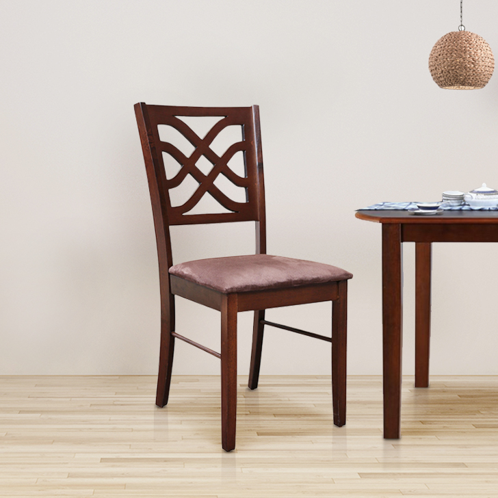 Oliver Solid Wood Dining Chair Set of Two in Wenge & Walnut Colour by HomeTown
