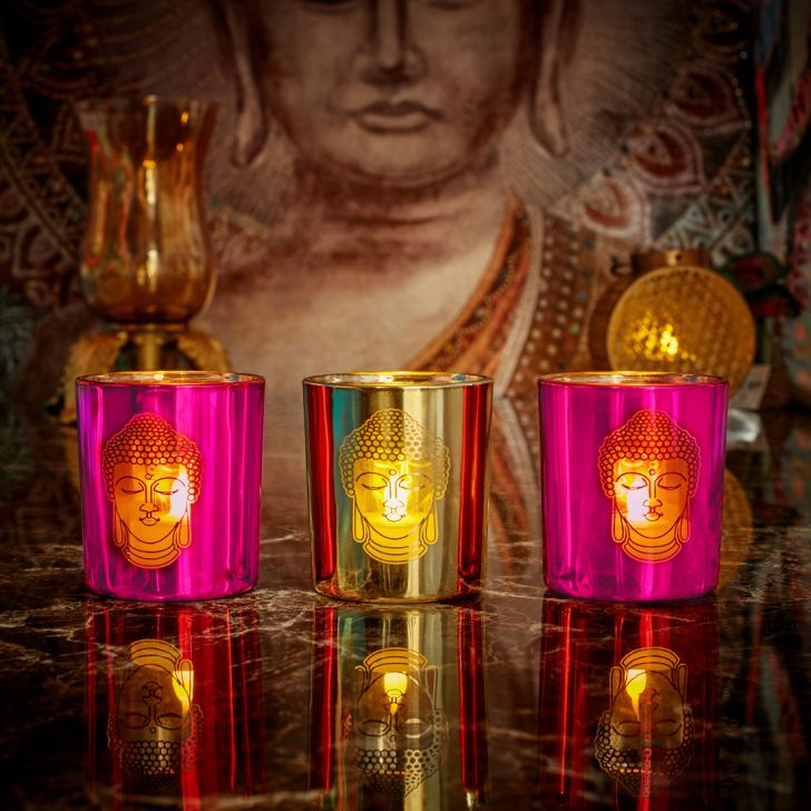 Zahara Set Of 3 Buddha Face Glass Candle Holders in PINK GOLD Colour by Living Essence