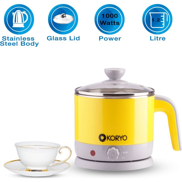 Electric Kettle and Steamer - 1.2 Litres - Yellow by Koryo