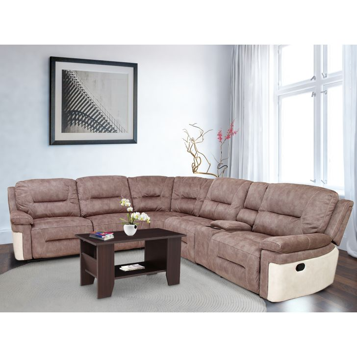Jupiter Fabric 5 Seater Corner Sofa with Recliner in Brown Colour by HomeTown