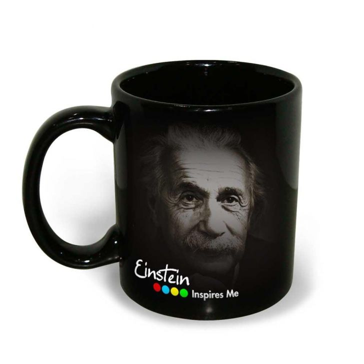 Hot muggs Albert Einstein Quote on Imagination, 350 ml, 1 Pc Ceramic Coffee Mugs in Black Colour by HotMuggs