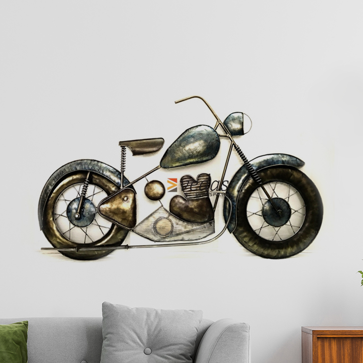 W-DAVID BIKE Iron Large Wall Accents in Multicolor Colour by Royce