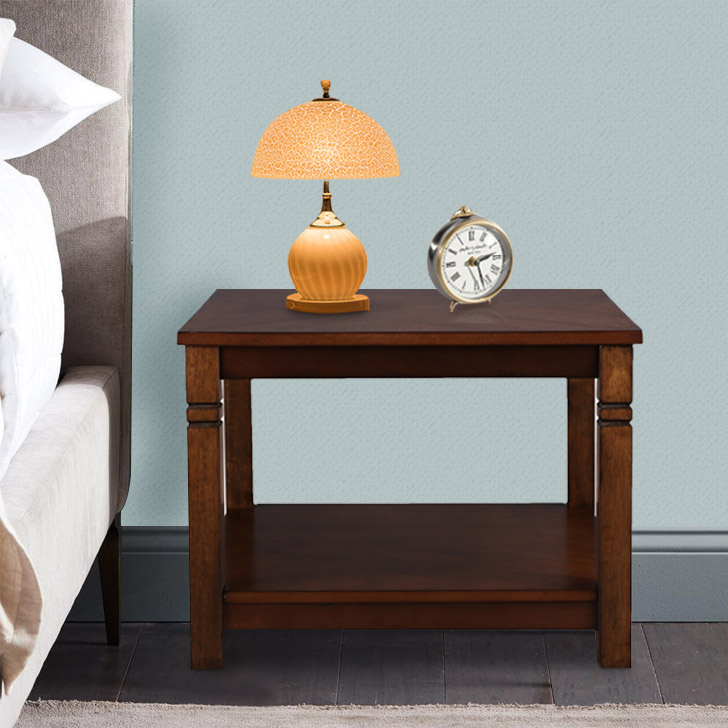 Maverick Solid Wood Side Table in Walnut Colour by HomeTown