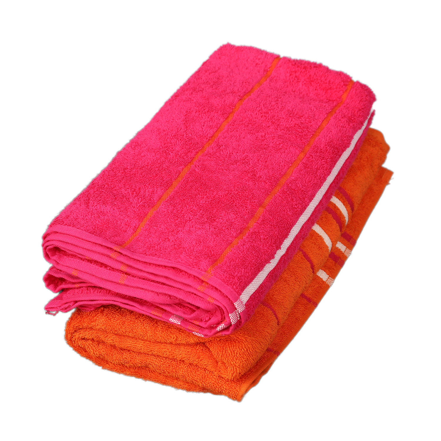 Emilia Carded Cotton Bath Towels in Orange & Fuchsia Colour by Living Essence
