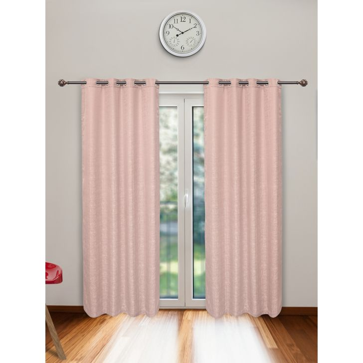 Nora Set of 2 Polyester Door Curtains in Blush Colour by Living Essence