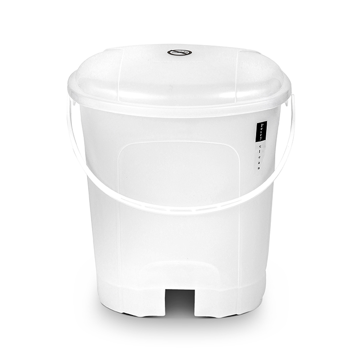 Perry Pedal Dustbin Plastic Dustbins in White Colour by Living Essence