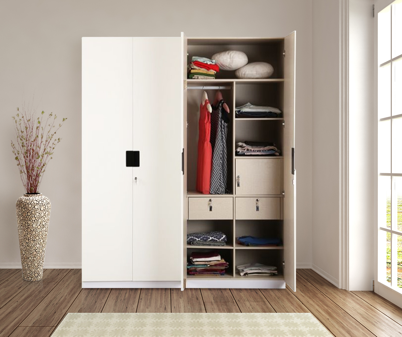 Edwina Engineered Wood Four Door Wardrobe in White High Gloss Colour by HomeTown