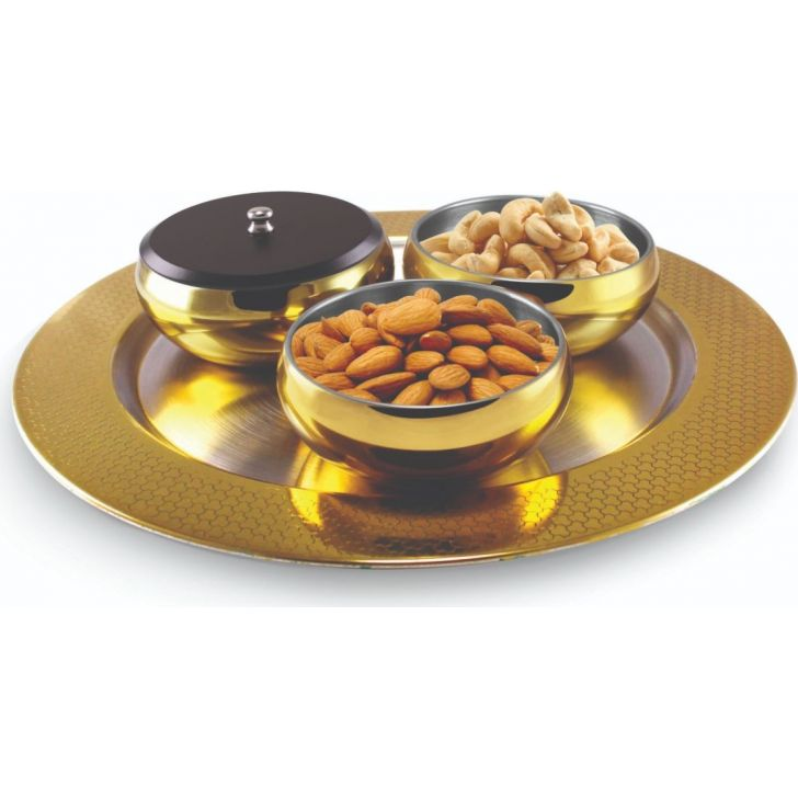 FNS Georgia 7Pc Snack Serving Set Gold Color