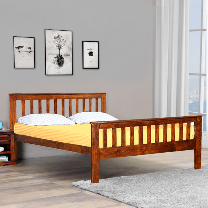 Valerion Acacia Wood Queen Size Bed in Teak Colour by HomeTown