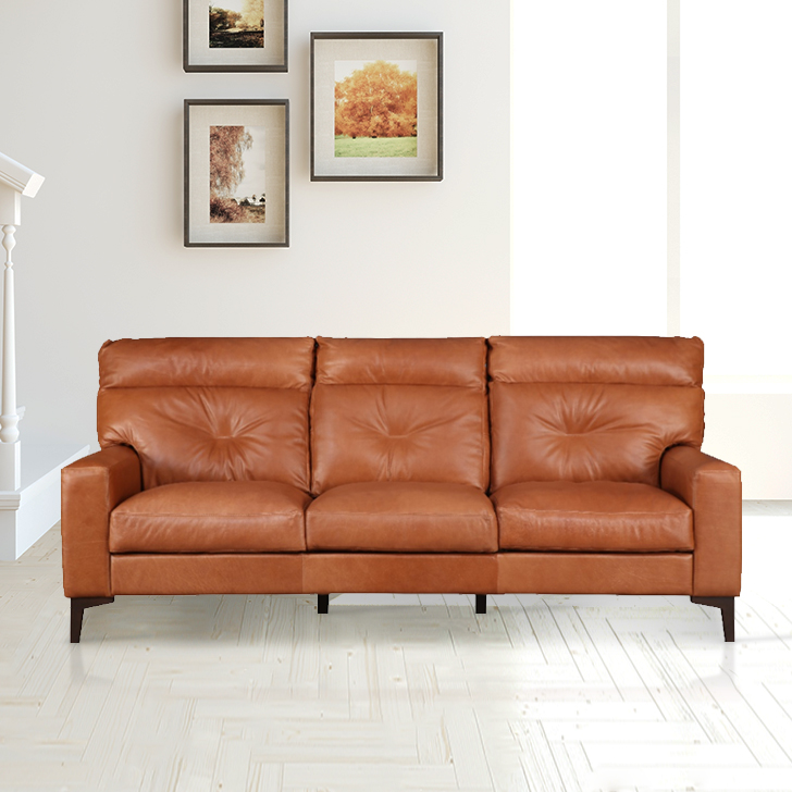 Harris Leather Three Seater Sofa in Tan Colour by HomeTown