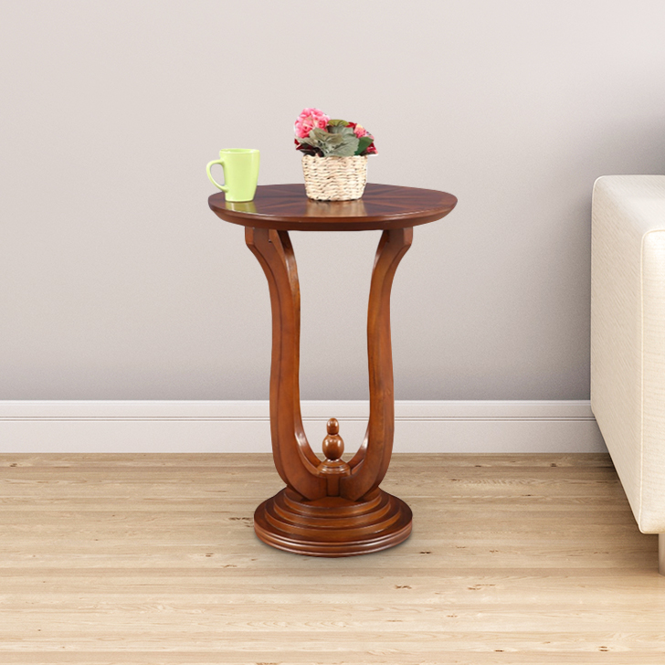 Radial Solid Wood Pedestal in Brown Colour by HomeTown