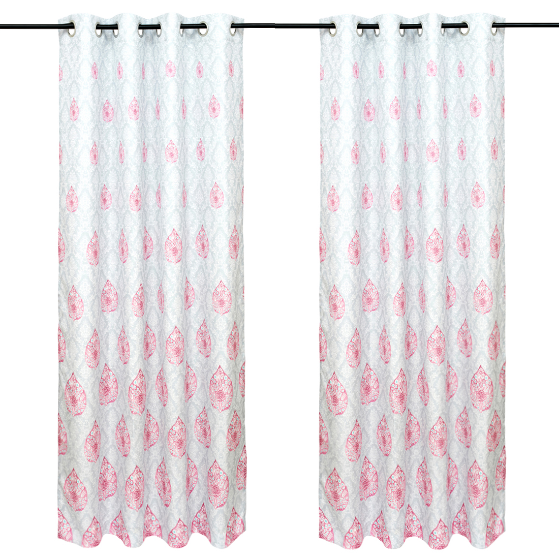 Nora Printed set of 2 Polyester Door Curtains in Rose Colour by Living Essence