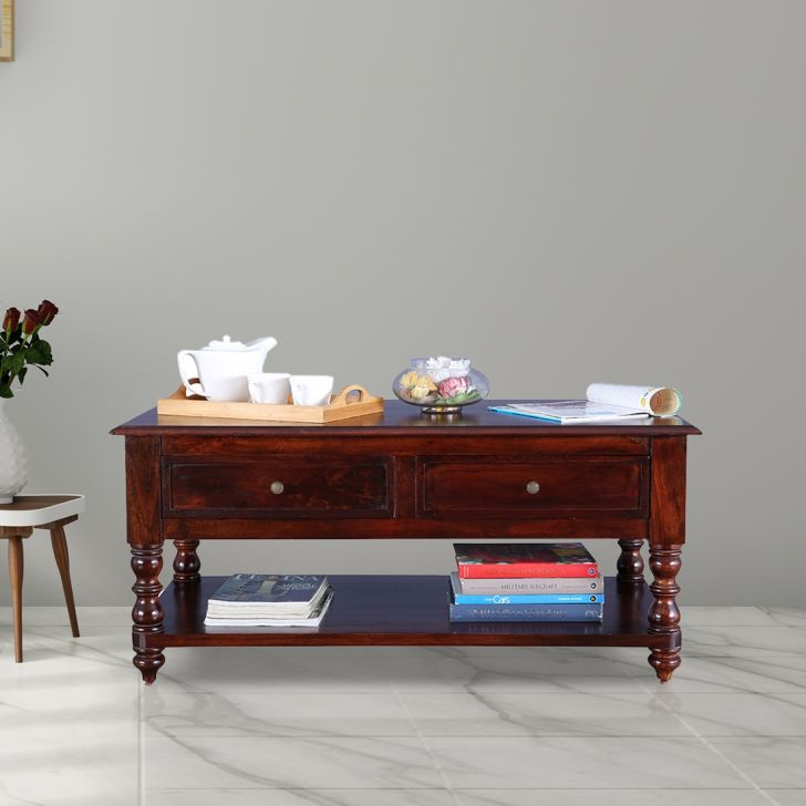Octavia Solid Wood Center Table in Walnut Colour by HomeTown