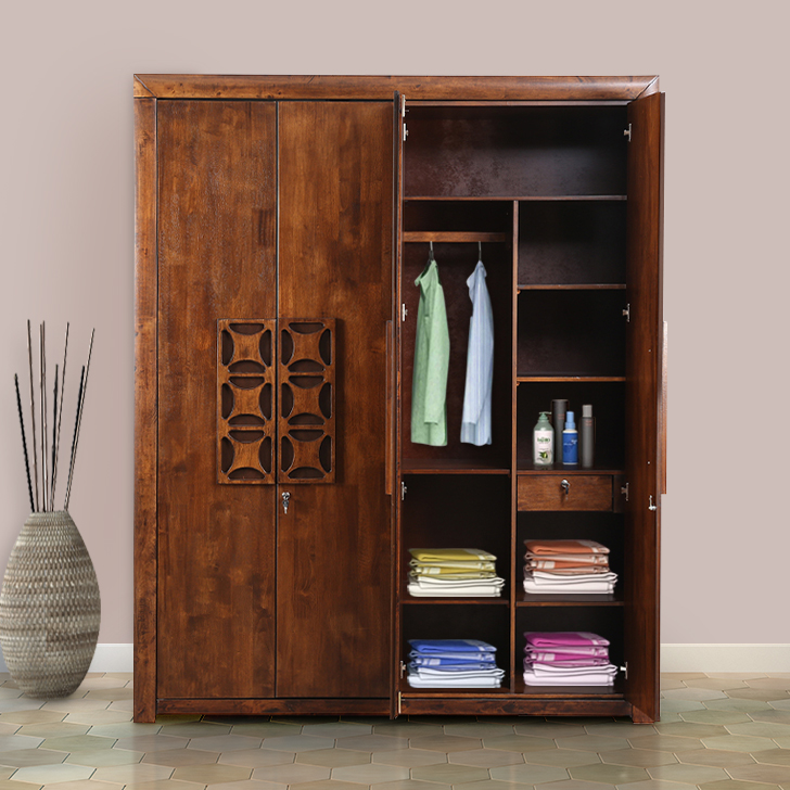 Casablanca Solid Wood Four Door Wardrobe in Walnut Colour by HomeTown