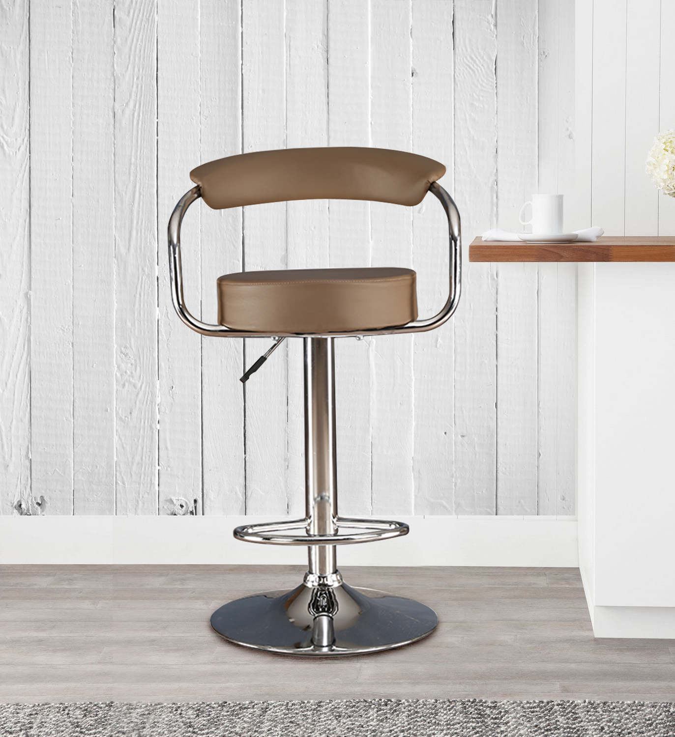 Nook Polyurethane Bar Chair and Stool in Brown Colour by HomeTown