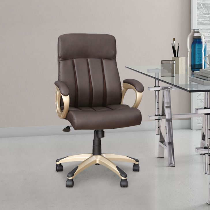 Henry Polyurethane Office Chair in Brown Colour by HomeTown