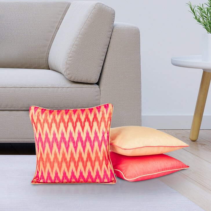 Chevron Set Of 3 Cushion Covers Polyester Cushion Cover Sets in Red Colour by Living Essence