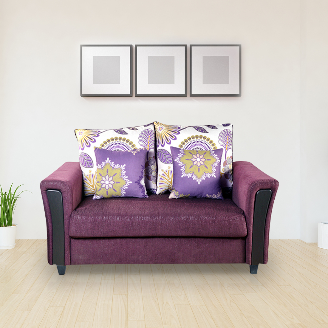 Savanna Fabric Two Seater Sofa in Wine Colour by HomeTown