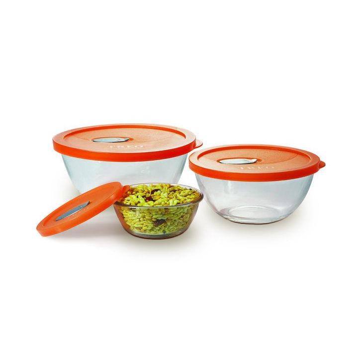 Treo Celebration Glass Mixing Bowl Set Assorted 3 Pcs Glass Containers in Assorted (Orange And Yellow) Colour by Living Essence