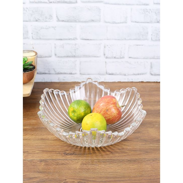 Sapphire Glass Leaf Glass Bowl in Transparent Colour by Living Essence
