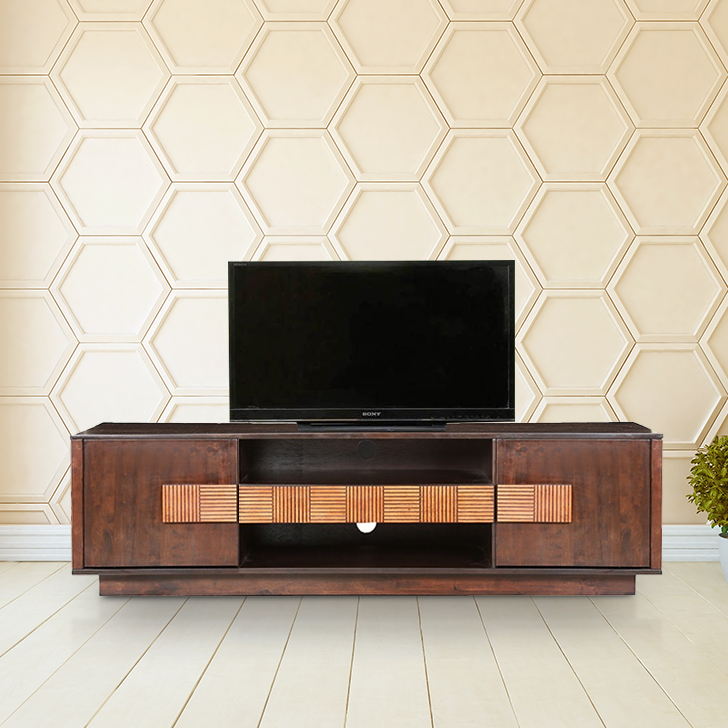 Sienna Solid Wood TV Unit in Wenge Colour by HomeTown