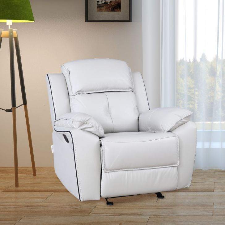 Geneva Half Leather Single Seater Recliner in Grey Colour by HomeTown