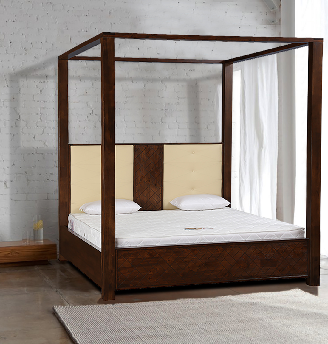 Atlas Solid Wood Box Storage King Size Bed in Walnut Colour by HomeTown