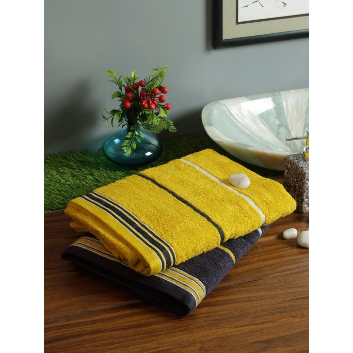 Set of 2 Emilia Cotton Bath Towels in Charcoal Gold Colour by Living Essence