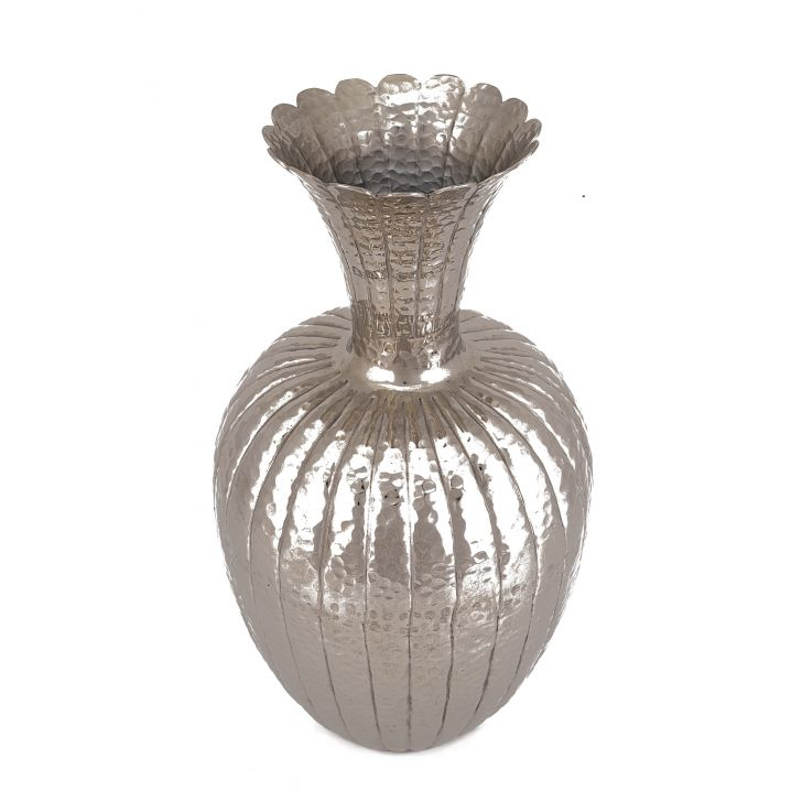Shiraz Mataka Vase Big Metal Vases in Silver Colour by Living Essence