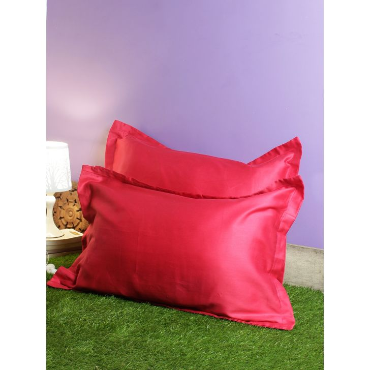 Set of 2 Nora Palette Solid Polyester Pillow Covers in Berry Colour by Living Essence