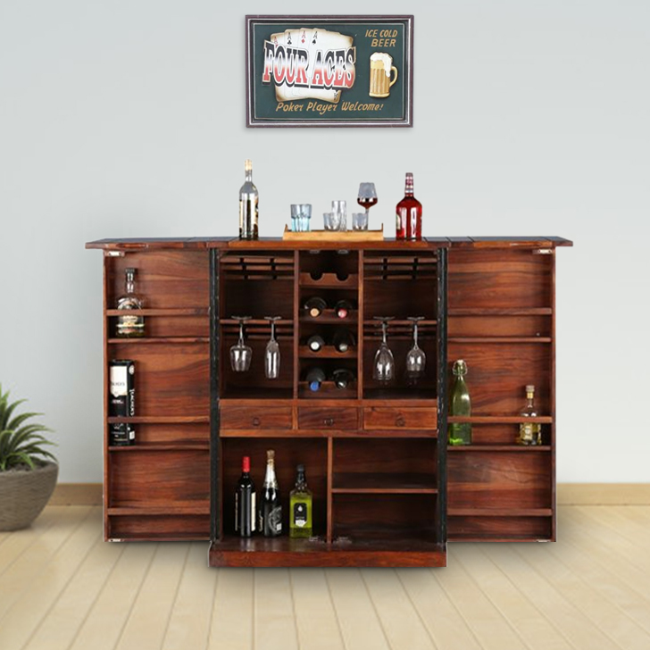 Woodrow Solid Wood Bar Cabinet in Honey Colour by HomeTown