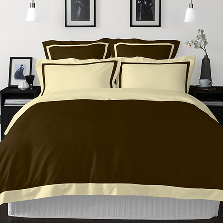 Spaces Cotton Double Bed Sheets in Dark Brown Colour by Spaces