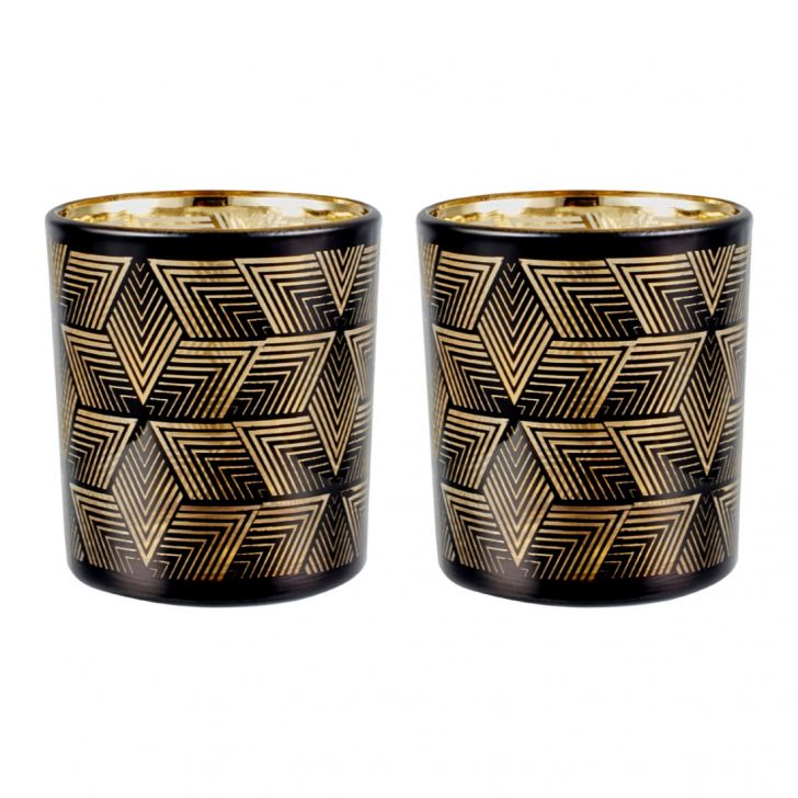 Zahara Set Of 2 Geo Etched Candle Holder Black Gold Glass Candle Holders in BLACK GOLD Colour by Living Essence