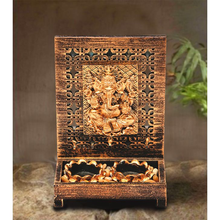 Zahara Ganesha Polyresin Candle Holders in Brushed Gold Colour by HomeTown