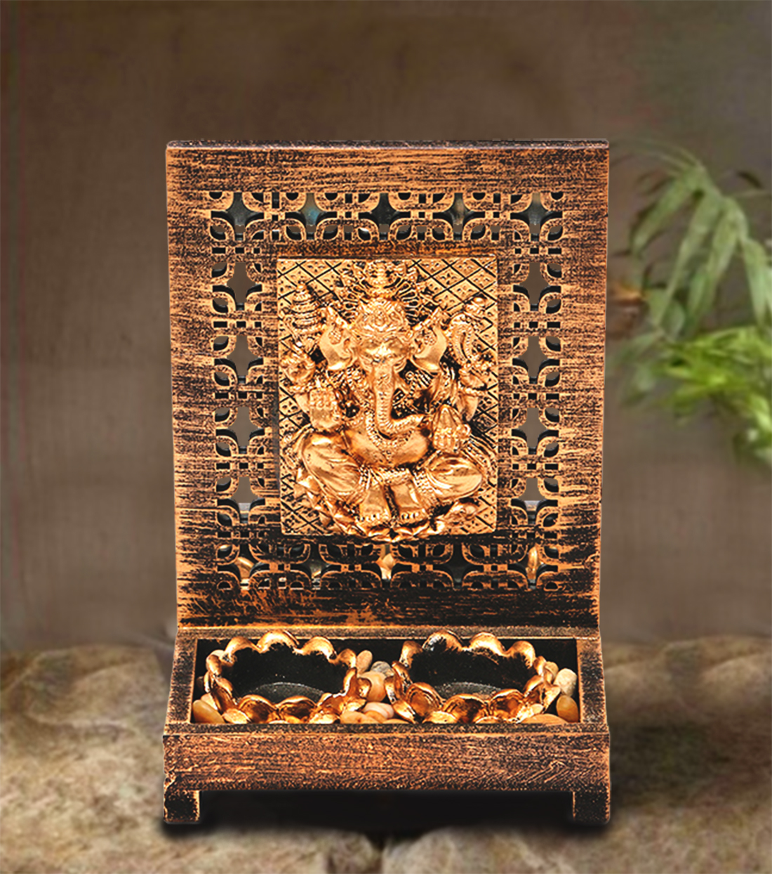 HomeTown Zahara Polyresin Ganesha Brushed Gold Polyresin Candle Holders in Brushed Gold Colour by HomeTown